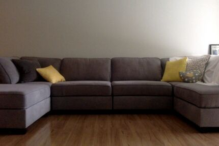 Grey five seater couch and chase