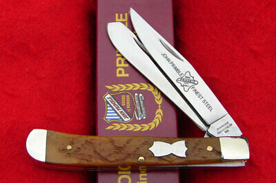 John Primble USA Antique Green Jigged Bone Trapper Pocket Knife 6277 - NICE!!!