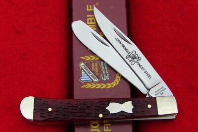 John Primble USA Antique Red Jigged Bone Trapper Pocket Knife 6277 - NICE!!!