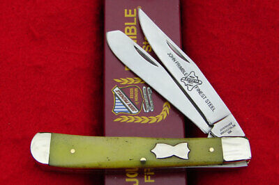 John Primble USA Yellow Smooth Bone Trapper Pocket Knife 6277 - REAL BEAUTY!!!