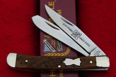 John Primble USA Tan Jigged Bone Trapper Pocket Knife 6277 - NICE!!!