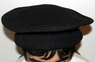 Best Thick Black Afghan Hat Premium Pakol 100% Wool Afghanistan Warn Winter Hat