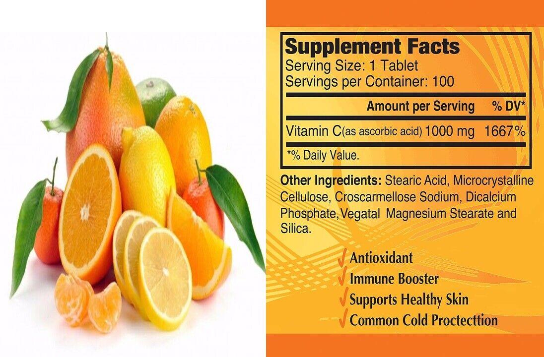 Vitamin C 1000 mg. 100 Capsules / la mejor y original Vitamina C made in USA 3