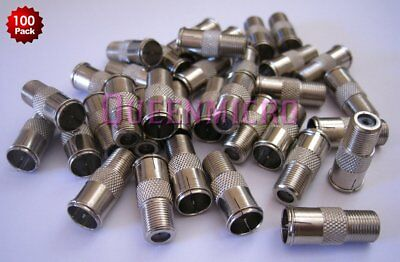 100 x F-type Quick Push-On Adapter Male-Female Coax Coaxial Cable Connector Lot