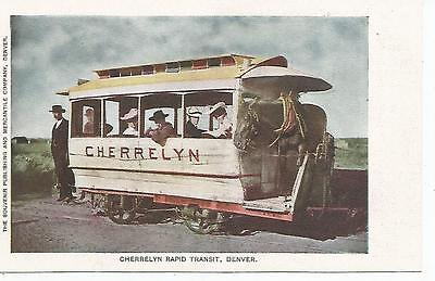 Denver Co Cherrelyn Rapid Transit Trolley Postcard C1900