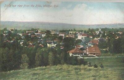 Whittier CA Bird's-Eye View Postcard c1908