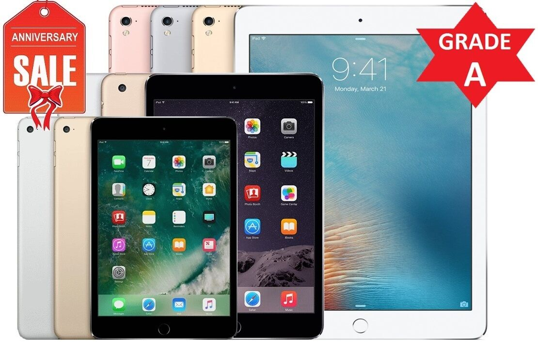 Ipad - Apple iPad 2/3/4 Mini Air | WiFi Tablet | 16GB 32GB 64GB 128GB I Pro GRADE A (R)