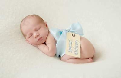 Baby Blue Ribbon & Special Delivery Tag Photography Newborn Baby Photo Prop