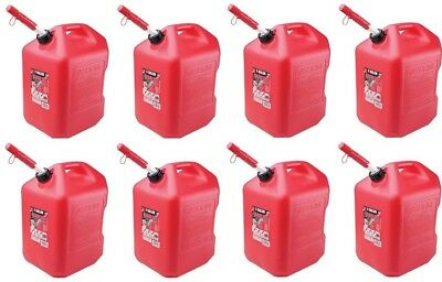 (8) Midwest 6610 6 Gallon Red Plastic Gas Cans Containers w Spill Proof Spouts  ()