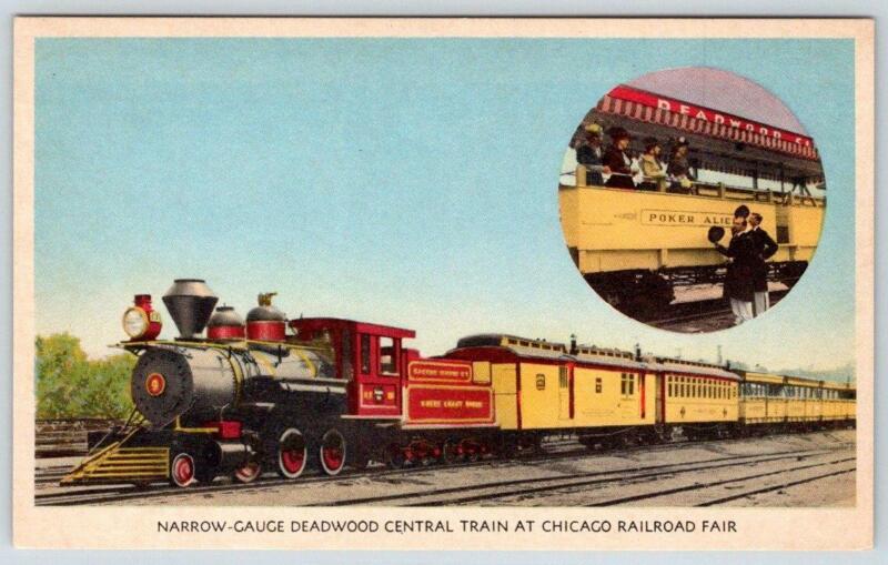 1940s BURLINGTON ROUTE*CHICAGO RAILROAD FAIR*NARROW GAUGE DEADWOOD CENTRAL TRAIN