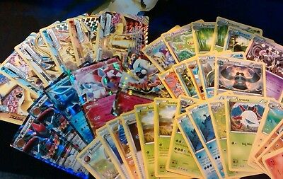 Pokemon TCG , 100 card Lot , Common , Uncommon , Rare + Holo cards + Online Code