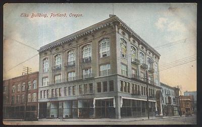 Postcard PORTLAND Oregon/OR  B.P.O.E. Elks Club & Business Storefronts 1907