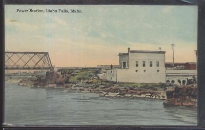 Postcard Idaho Falls Id  Early 1900S Power Station   Steel Span Bridge 1907