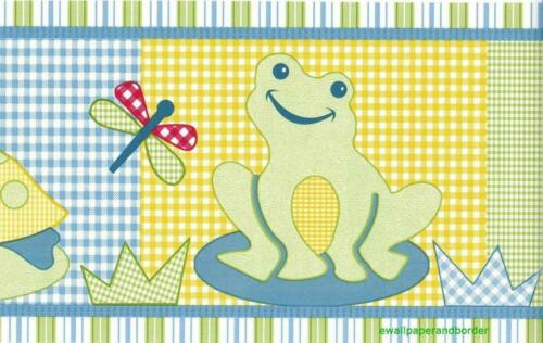 Froggy Friends Turtle Dragonfly Lilly Pad Safari Kids Nursery Wallpaper Border