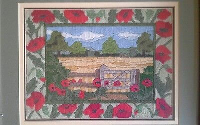 Embroidered picture  of poppies  and harvest country scene