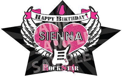 ROCK STAR PARTY PINK Edible Cake Topper Frosting Sheet Image PERSONALIZED! - Rockstar Cake Toppers