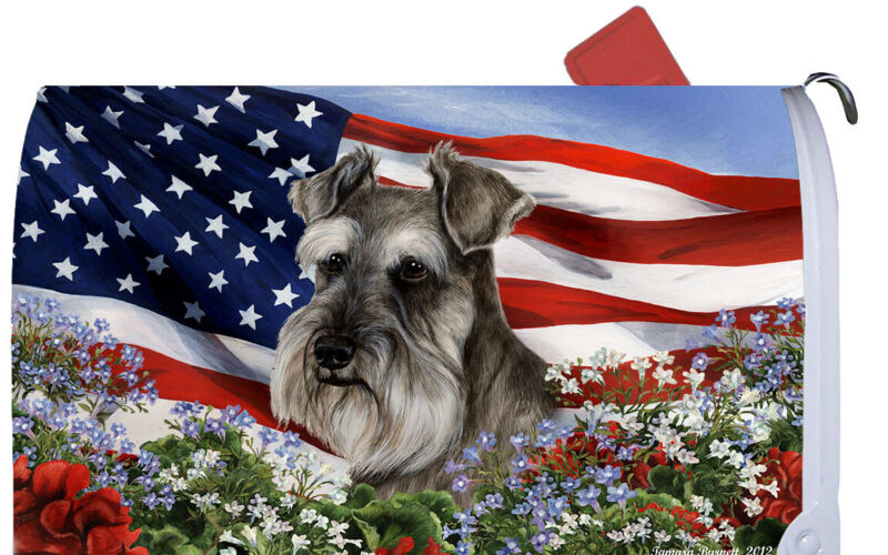 Magnetic Mailbox Wrap (Patriotic) - Uncropped Schnauzer 09140