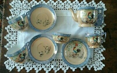 VTG Japanese Chikaramachi Rooster design tea-for-two set Collection Only