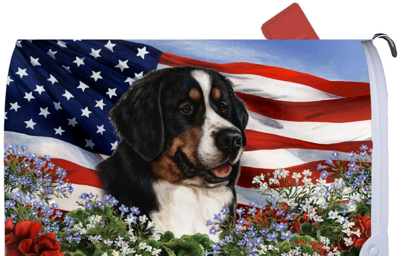 Magnetic Mailbox Wrap (Patriotic) - Bernese Mountain Dog 09051