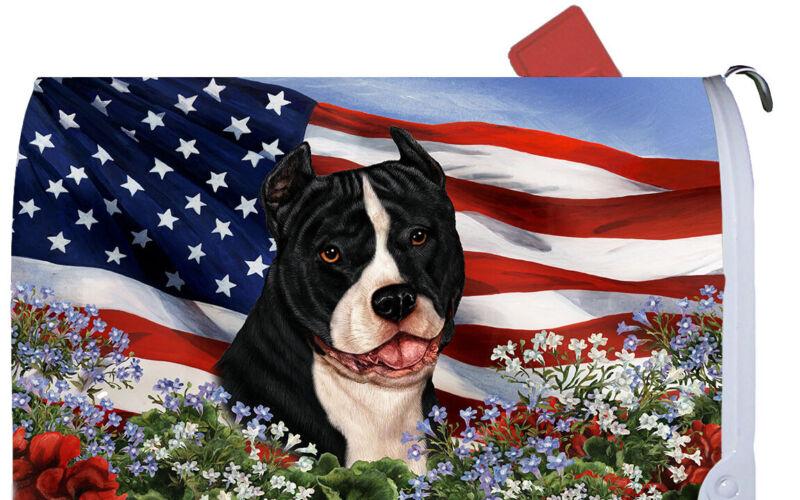 Magnetic Mailbox Wrap (Patriotic) - American Pit Bull Terrier 09405