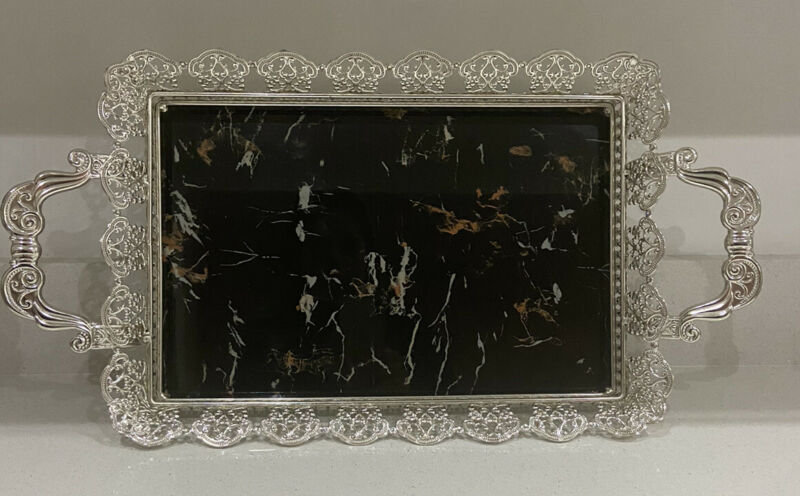 Moroccan Tray Siver Plated Hand Crafted Frame &Handles+marble Effect Base New