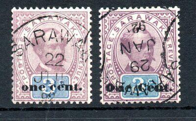 MALAYA , SARAWAK , 1892 , scarce ONE CENT OVERPRINT ! , TYPE !! , used