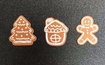 Christmas gingerbread man house & tree shape toppers embellishments pk10  ()