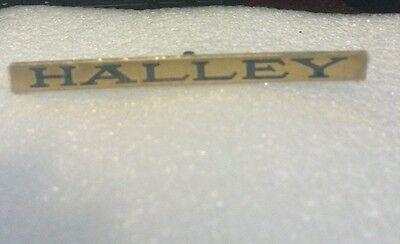 LIONEL & MTH PREWAR STD GAUGE PASSENGER CAR BRASS NAME PLATE HALLEY