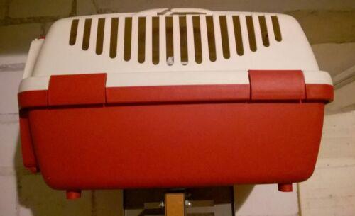 Transportbox Katze Hund Tierbedarf Transportkiste Rot Beige Box Kiste Tiere
