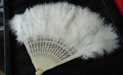 Burlesque Ladies Fan White Marabou Feathers Art-deco 1920's Style. Sparkle