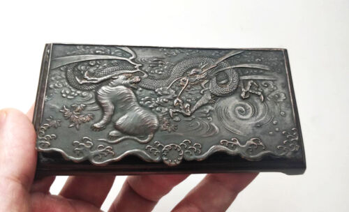 ANTIQUE CHINESE JAPANESE DRAGON & TIGER RELIEF SNUFF BOX