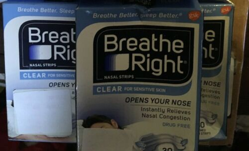 6 Pack BREATHE RIGHT 30 small/medium nasal strips Clear for sensitive skin