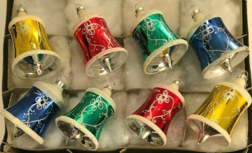 """8 Vtg Bells Clappers Mica Snow Glitter Accent Gold Red Green Blue Ornaments 3.5"""""""