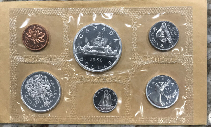 1966 CANADA PROOF LIKE MINT UNCIRCULATED 6 COIN SET - FREE SHIPPING