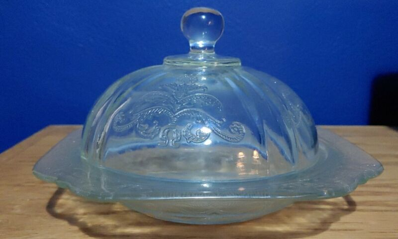 Covered Butter Dish Federal Glass Madrid Clear Depression Bowl w/ Dome Lid Vtg