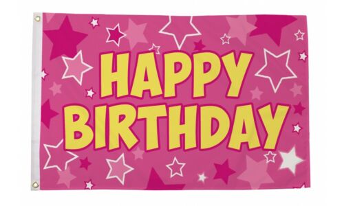Happy Birthday Flag 5ft x 3ft Banner in Pink Metal Grommets 100% Polyester Flags