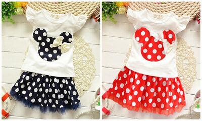 1 set Kids girls summer clothes girls holiday outfits top Tee + skirt polka dot Polka Dot Tee-set
