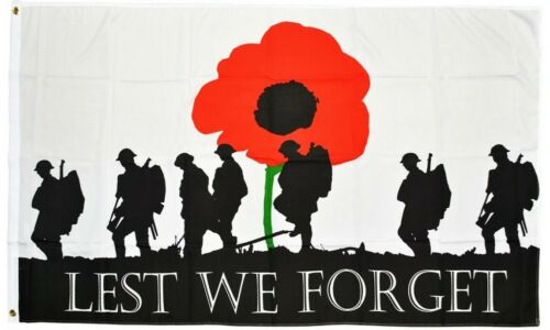 Lest We Forget Army Flag Remembrance Soldiers Poppy Military Armistice Day UK