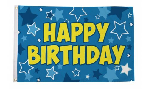 Happy Birthday Flag 5ft x 3ft Banner in Blue Metal Grommets 100% Polyester Flags
