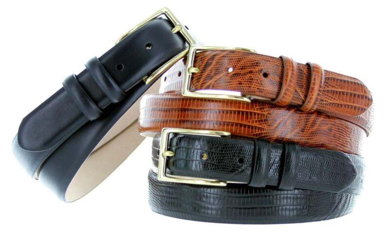 "The Adam - Italian Calfskin Leather Dress Belt 1-1/8"" Wide With Gold Buckle"