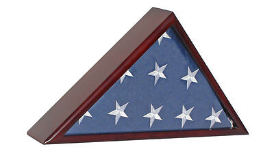Solid wood MEMORIAL FLAG DISPLAY CASE for Funeral/Casket 5'X9.5' flag -FC60