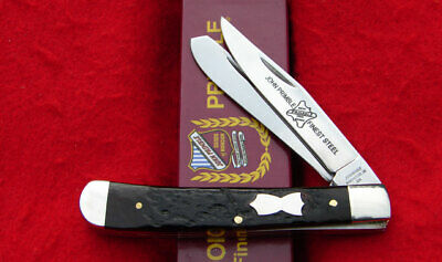 John Primble USA Dark Brown Jigged Bone Trapper Pocket Knife 6277 - REAL BEAUTY!