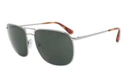 Prada SPR52T 5AV-6P0 Square Aviator Sunglasses Gunmetal Silver Polarized (Prada Polarized Aviator Sunglasses)