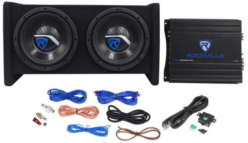 """Rockville RV8.2A 800 Watt Dual 8"""" Car Subwoofer Enclosure+Mono Amplifier+Amp Kit"""