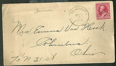 1894 Cover And Letter Sent From Elizabeth Pennsylvania To Columbus Ohio