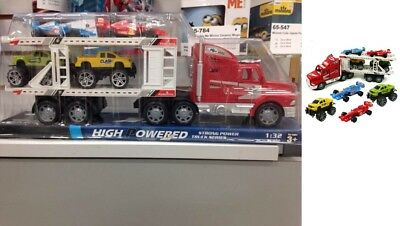 Toys for 3 4 5 6 7 8 9 10 Years Old Boys Friction Powered Semi + 4 Cars/Trucks - Toys For 10 Year Old Boys