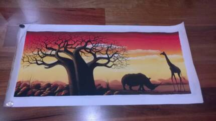 Fantastic original hand-painted African animal picture on canvas Woodvale Joondalup Area Preview