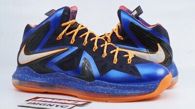 new style 98fbb 12e0f NIKE LEBRON X 10 PS ELITE USED SIZE 13 SUPERHERO BLUE ORANGE PLATINUM  579827 400