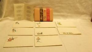 VTG BOX OF 40 UNUSED POST A NOTE POSTCARDS OLDER GRAPHICS FLOWERS BIRDS GIRL
