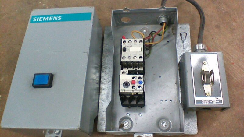 SIEMENS MOTOR STARTER 3TF4022-OA WITH ENCLOSURE WITH 3 POLE SWITCH 3UA50 00-1B